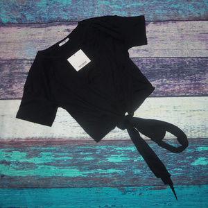 Zara Tied Front Crop T-Shirt S